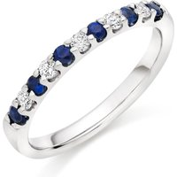 18ct White Gold Diamond And Sapphire Half Eternity Ring