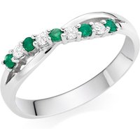 18ct White Gold Emerald And Diamond Wedding Ring
