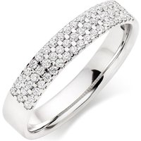 18ct White Gold Diamond Three Row Ladies Wedding Ring