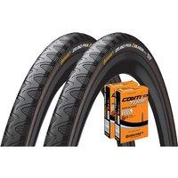 Continental Grand Prix 4 Season 28c Tyres + 2 Tubes - Schwarz - 700c