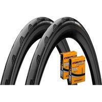 Continental Grand Prix 5000 23c Tyres + Tubes - Pair - Schwarz - 700c
