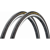 Continental GatorSkin Folding Road Tyres 25c - Pair - Schwarz - 700c