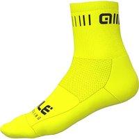 Ale Strada Qskin Socks - Fluro Yellow-Black - M, Fluro Yellow-Black