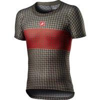 Image of Castelli Pro Mesh M Short Sleeve Base Layer SS21 - Bark Green-Fiery Red - XL, Bark Green-Fiery Red