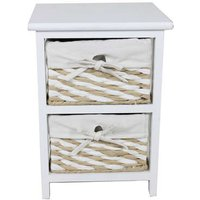 Bureau Rangement> Petit rangement > Mini-commode. Mini commode 2 tiroirs 40 cm EUGENIE coloris beige