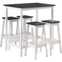 Cuisine Salle de bain> Meuble de cuisine > Ensemble table et chaise. Set table haute + 4 tabourets RIVIERA coloris noir/blanc