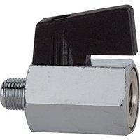 RIEGLER Mini-Kugelhahn, glatte Oberfläche, MS vernickelt, G 1/8 IG/AG, DN 8