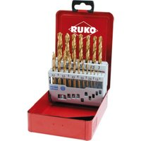 RUKO Spiralbohrersatz DIN 338 Typ N HSS G TiN in Industriekassette 19-teiliger