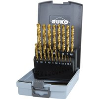 RUKO Spiralbohrersatz DIN 338 Typ N HSS G TiN in Kunststoffkassette Durchmesser 1,0 mm