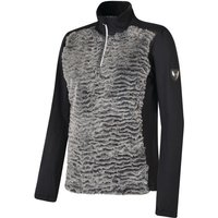 Women's Aspiration Half Zip Faux Fur Luxe Stretch Midlayer Charcoal Black