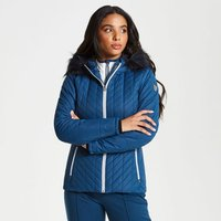 Womens Icebloom Luxe Faux Fur Trimmed Quilted Ski Jacket Blue Wing