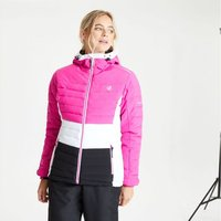 Womens Succeed Waterproof Insulated Quilted Hooded Ski Jacket Active Pink Black
