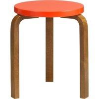 Artek Aalto stool 60, bright red - walnut