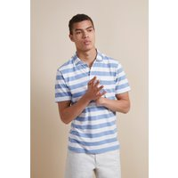 24s Harbour Stripe Polo Shirt - Piscine/cuba White