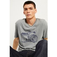 Camera Graphic T-shirt - Mid Grey Mel/indigo