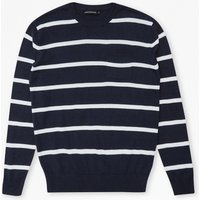 12g Crew Stripe Jumper - Marine/ Optic White