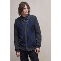 Argyle Front Lambswool Cardigan - Charcoal Mel/dark Blue/frost