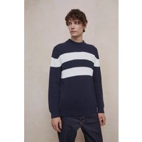 Bold Stripe Turtle Neck Jumper - Marine Blue/milk