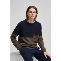 Block Tape Cotton Jumper - Marine Blue/combat