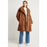Annie Faux Fur Double Breasted Coat - Camel