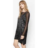 Aria Jacquard Tunic Dress - Black