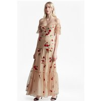 French ConnectionViola Stitch Floral Embroidered Maxi Dress  - honey sand/red sky multi