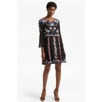 French ConnectionEdith Floral Bell Sleeve Flared Dress - black multi