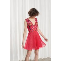 French ConnectionAlice Lace Embroidered V Neck Dress - watermelon multi