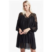 French ConnectionLassia Lace Jersey Tie Neck Dress - black