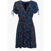 Aubine Drape Floral Dress - Black Multi