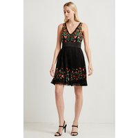 Amity Lace Embroidered Dress - Black