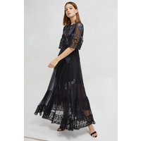 Ambre Embroidered Floral Dress - Black