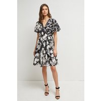 Bamba Devore Floral V Neck Dress - Black/classic Cream