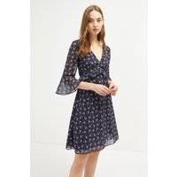 Agata Georgette V Neck Floral Dress - Utility Blue Multi