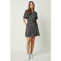 Angelina Meadow Floral Belted Dress - Black/white