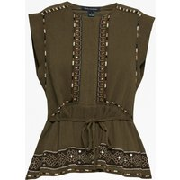 Adanna Crinkle Embroidered Peplum Top - Military Green