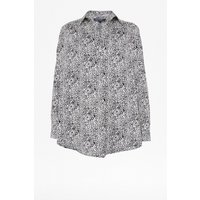 Animal Print Pop Over Shirt - Small White Leopard