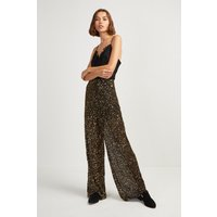 Aida Sequin Wide Leg Trousers - Black/gold
