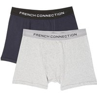 Solid Colour Boxer Shorts - grey mel/marine blue