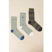 3 Pack Gilbert Grindle Stripe Socks - Tango Red