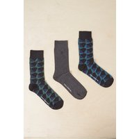 3 Pack Kaleidoscope Diamond Socks - Blue/alpine/charcoal Mel
