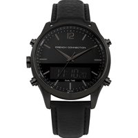 Brushed Black Leather Watch - Black