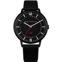 Black Leather Strap Watch - Black