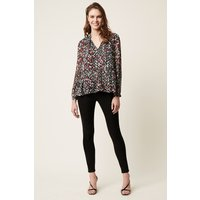 Cosmo Flower Long Sleeve V Neck Top