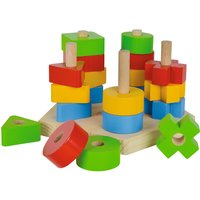 Eichhorn Steckplatte ¦ mehrfarbig ¦ Platte und Stäbe aus Kiefer massiv Bausteine aus Buche massiv Baby > Spielen > Lernspielzeug - Höffner