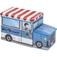 Sitzbank mit Stauraum Eisauto ¦ blau ¦ Box Außen: 100% Polyester, Füllung: Karton, Innen: Stoff 100% Polyester, Deckel: Karton