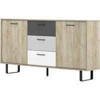 002835 ORLANDO 4 grau Eiche Nb. / mix Kommode Beistellkommode Sideboard Buffet ca. 160 cm-