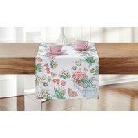 Tischläufer  Tulpen ¦ weiß ¦ 100% Polyester Heimtextilien > Tischwäsche > Tischläufer - Höffner