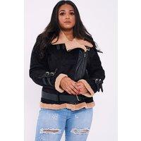 Black Jackets - Curve Leara Black Faux Fur Lined Aviator Jacket