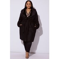 Black Collars - Curve Haisley Black Longline Jacket with Detachable Fur Collar